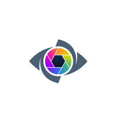 colorful eye and shutter creative icon vector image