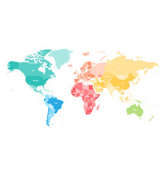 Colorful political map of world divided into six vector