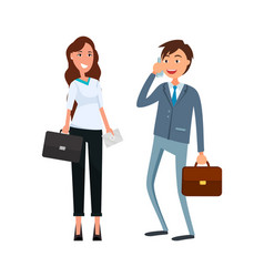 coworkers male speaking on phone female cartoon vector image