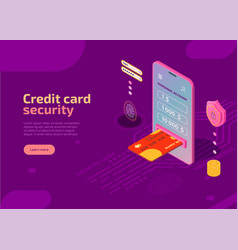 Credit card security isometric landing page vector