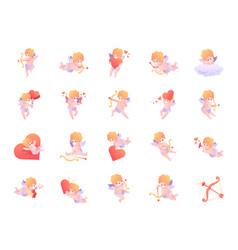 Cupid color icon set vector