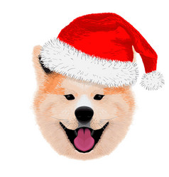 Cute akita merry christmas and happy new year vector