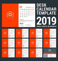 desk calendar for 2019 year design template vector image