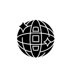 disco ball black icon sign on isolated vector image