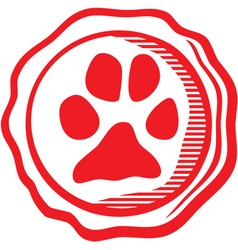 Dog paw emblem vector