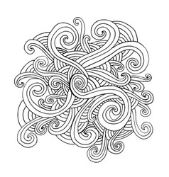 Doodle waves curly element coloring page isolated vector