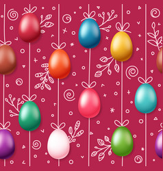 easter eggs on rope holiday seamless magenta vector image