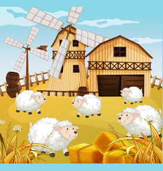 Farm scene in nature with barn and windmill and vector