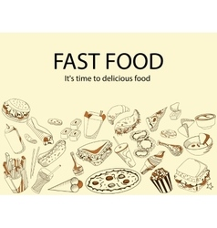 Fast food It is time delicious meal banner vector