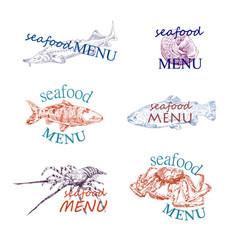 fish and crabs menu logo template design vector image