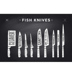 FIsh cutting knives set Poster Butcher diagram vector image