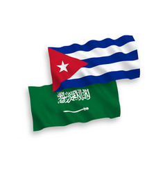 Flags saudi arabia and cuba on a white vector