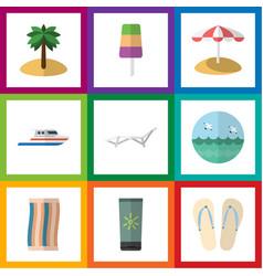 Flat icon beach set of sundae coconut ocean and vector
