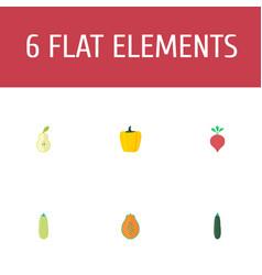 Flat icons bulgarian bell pawpaw radish and vector