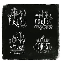 Forest labels chalk vector