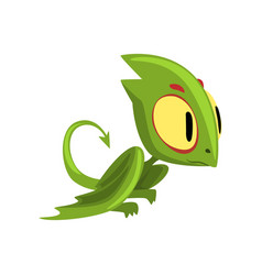 Funny green dragon with big eyes head and long vector