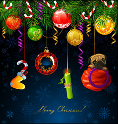 Funny numbers of new year hanging from the fir vector