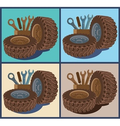 garages and tire vector image
