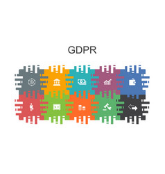 gdpr cartoon template with flat elements contains vector image
