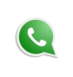Green phone handset in speech bubble icon vector