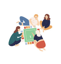 Group happy friends or family members playing vector