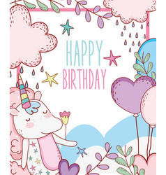 Happy birthday with unicorn animal decoration vector