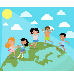 Happy children dancing on planet earth flat vector