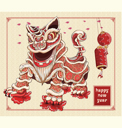 Happy chinese new year lion dance lanterns and vector