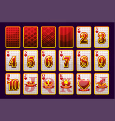 hearts suit poker playing cards for poker vector image