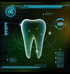 Human tooth futuristic infographic design vector