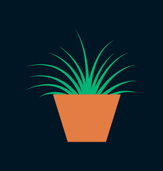 icon in flat design flower in pot aloe vector image