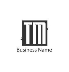 initial letter tm logo template design vector image