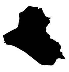 iraq - solid black silhouette map of country area vector image