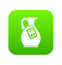 Jug with olive oil icon digital green vector