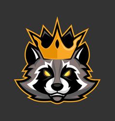 King raccoon mascot sport or esports racoon logo vector