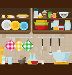 Kitchen flat vector