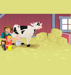 milking a cow vector image