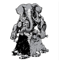 Muscle elephant strong gym change body vector