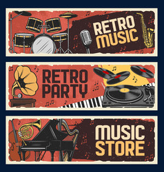 music store banners retro music instruments vector image