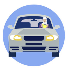muslim woman driving a car in minimalist style vector image