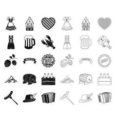 Oktober festival in munich blackoutline icons in vector