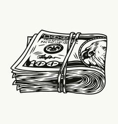 Pack dollar bills vector