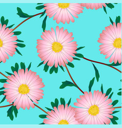 pink aster flower on blue background vector image