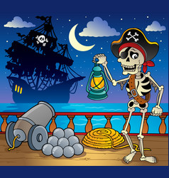 pirate ship deck theme 7 vector image