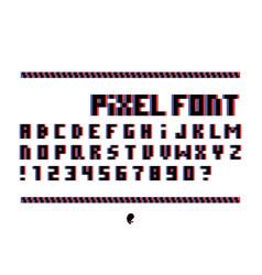 pixel glitch font alphabet vector image