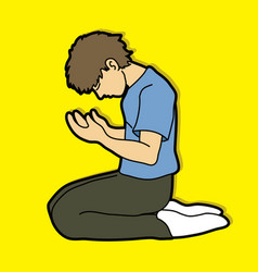 Prayer christian praying cartoon vector