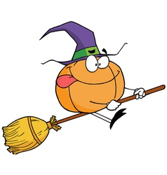 Pumpkin Character Witch On A Broom Stick vector image