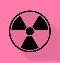 radiation round sign black icon with flat style vector image