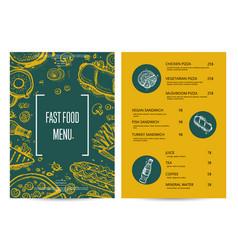 Restaurant menu with food pencil doodles vector