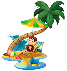 Scene with monkey sitting on beach on white vector